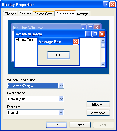 259808199f4a ... it three drop down menus listing the   Windows and buttons   style (XP  or classic)