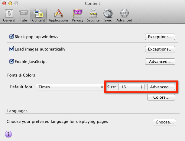 Firefox for Apple OS X - Making text larger   My Computer My Way