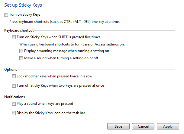 how can you disable sticky keys